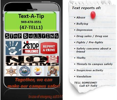 Confidential text message to report bullying or safety concerns